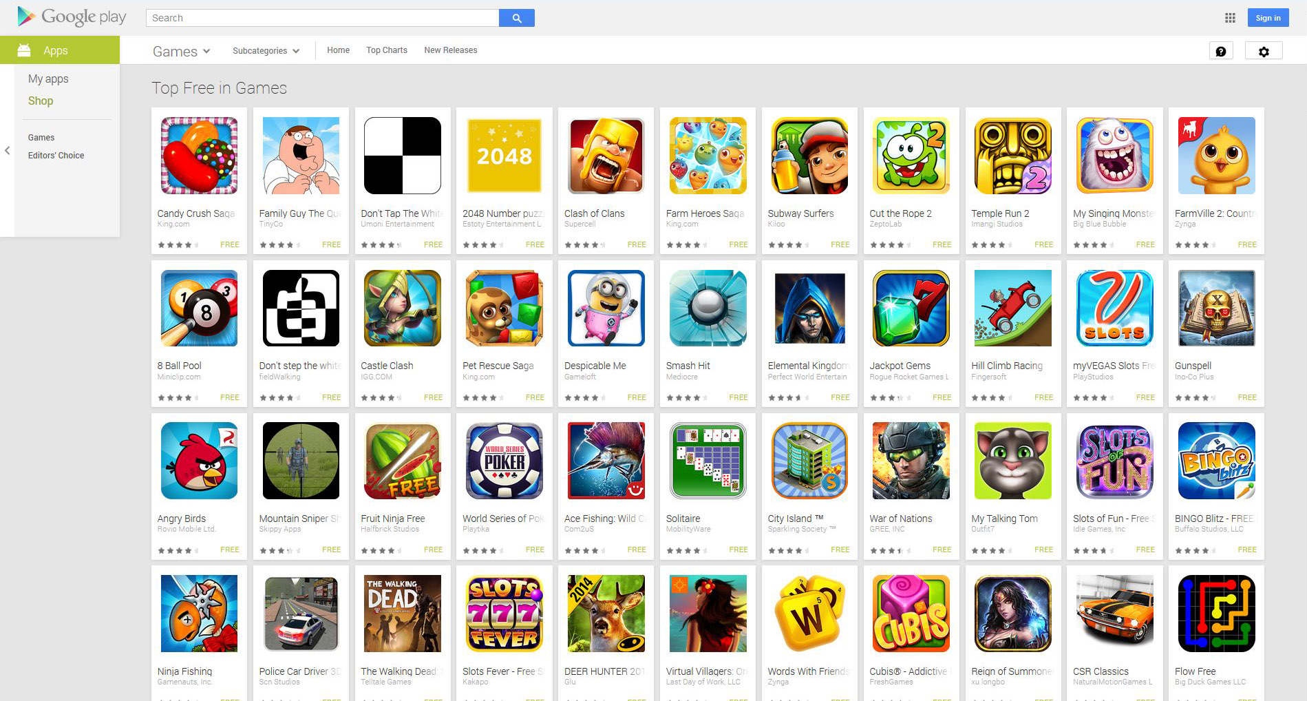 best free google play games 2014